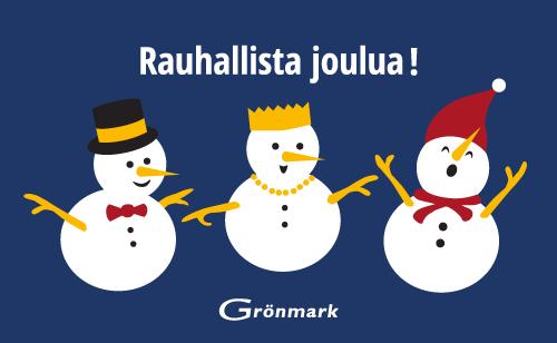 Grönmark toivottaa rauhallista joulua kaikille asiakkaille ja yhteistyökumppaneille